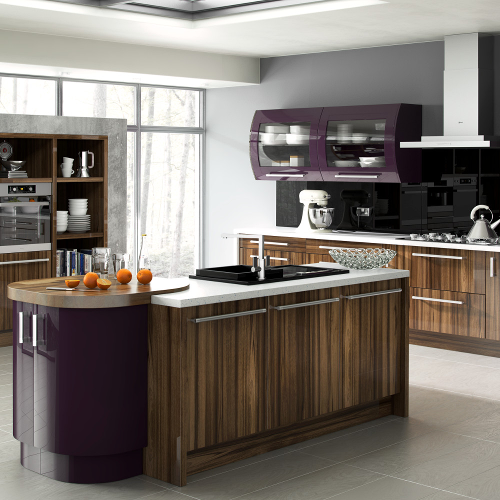 Duleek gloss tiepolo and gloss aubergine kitchens direct ni for Kitchens direct