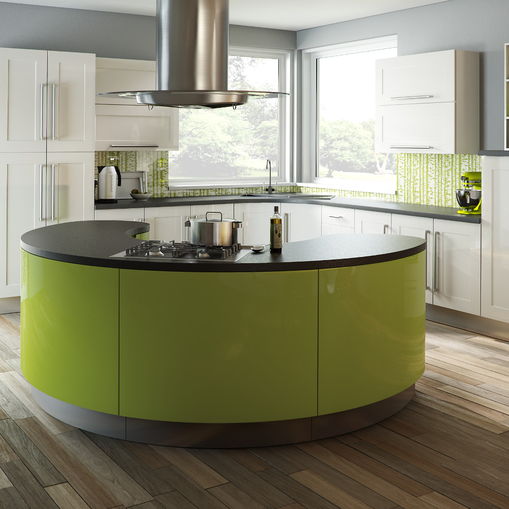 The argon in gloss white and gloss lime kitchens direct ni for Kitchens direct