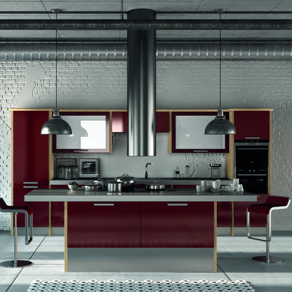 Duleek gloss burgundy kitchens direct ni for Kitchens direct