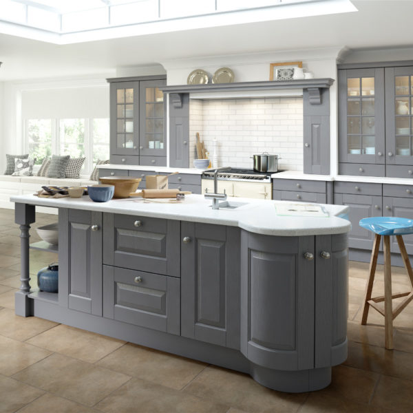 Hampton dust grey painted kitchens direct ni for Grey cabinets kitchen painted