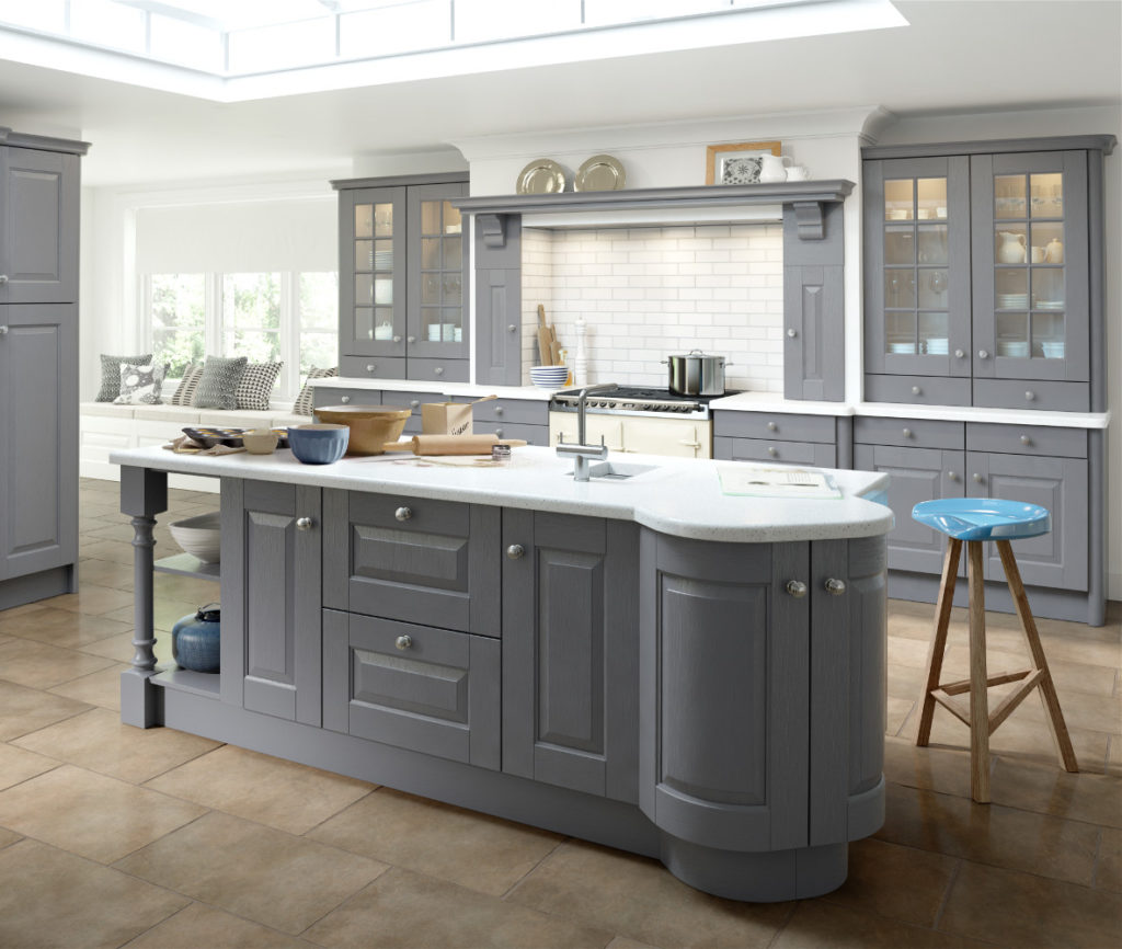 Hampton dust grey painted kitchens direct ni for Kitchen cabinets ireland