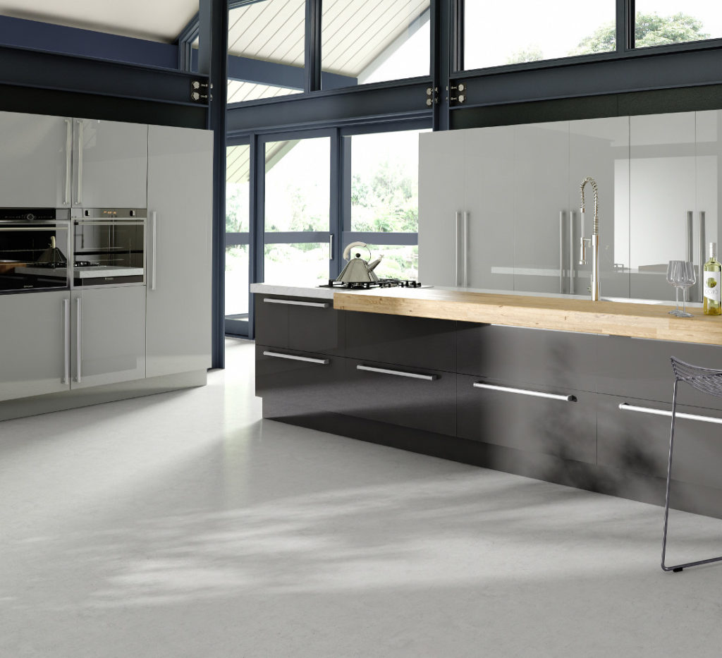 Phoenix light grey and fossil kitchens direct ni for Kitchens direct
