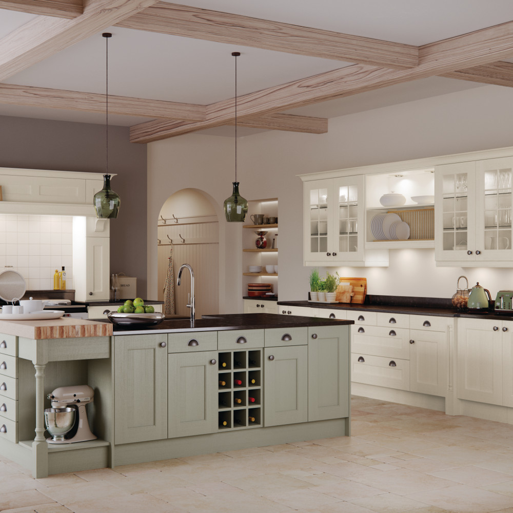 Wakefield Painted Ivory And Sage Green Kitchens Direct NI