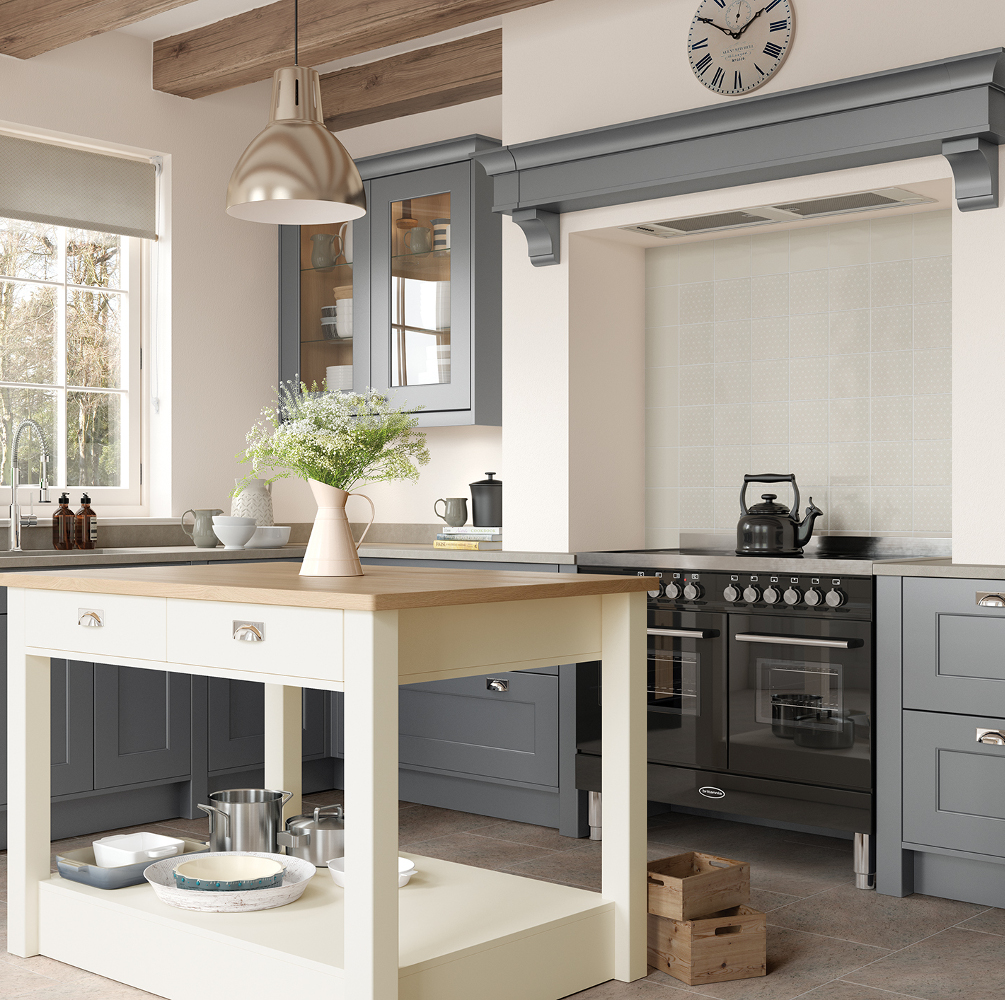 Florence in dust grey and porcelain kitchens direct ni for Kitchens direct