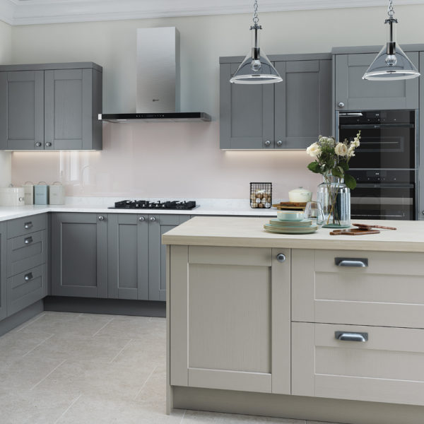 Kensington kitchen in light grey and dust grey kitchens for Kitchens direct