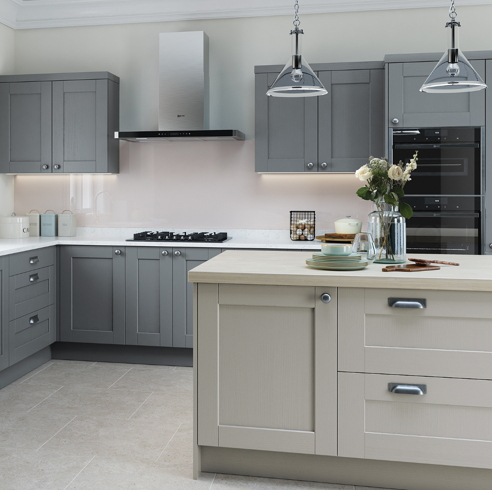 Kensington kitchen in light grey and dust grey kitchens for Grey kitchen wall units